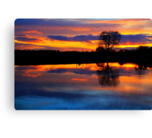 April Sunset over the River Tees, at Broken Scarr. Canvas Print