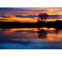April Sunset over the River Tees, at Broken Scarr. Photographic Print