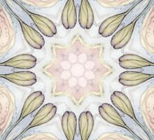 purple flowers hand drawn and kaleidoscope mandala Sticker