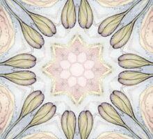 purple flowers hand drawn and kaleidoscope mandala Sticker