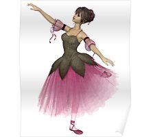 Pink Flower Ballerina in Arabesque Pose Poster