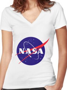 Official NASA (meatball) Logo Women's Fitted V-Neck T-Shirt