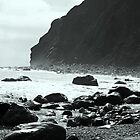 Black and White Beach Cliffs with Filtered Clouds by Corri Gryting Gutzman