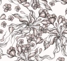 floral seamless pattern with hand drawn flowering crocus Sticker