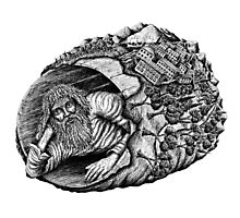 Diogenes surreal pen ink black and white drawing Photographic Print