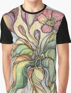 Bridal Bouquet.Hand drawn watercolor and ink drawing Graphic T-Shirt