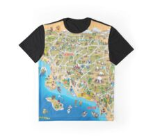Sunny Cartoon Map of Southern California Graphic T-Shirt