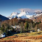 Snow on the Langdale Pikes from Elterwater Village by Martin Lawrence