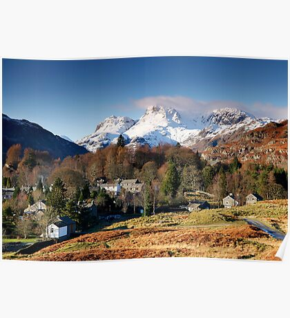 Snow on the Langdale Pikes from Elterwater Village Poster