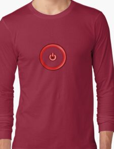 Red Power Button Long Sleeve T-Shirt