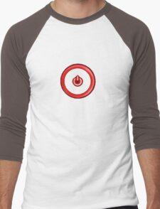 Red Power Button Men's Baseball ¾ T-Shirt