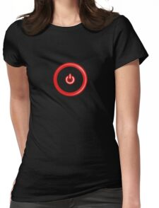 Red Power Button Womens Fitted T-Shirt