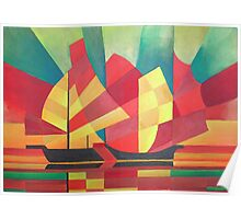 Cubist Abstract of Junk Sails and Ocean Skies Poster
