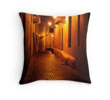 Cobblestone alleyway in Old San Juan Throw Pillow
