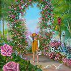 Little Girl in Flower Garden by Vivian Eagleson