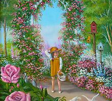 Little Girl in Flower Garden by Vivian Eagleson