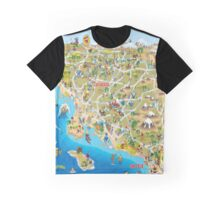 Cartoon Map of Southern California Graphic T-Shirt