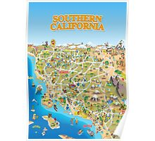 Cartoon Map of Southern California Poster