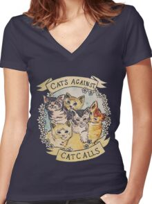 Cats Against Cat Calls Women's Fitted V-Neck T-Shirt