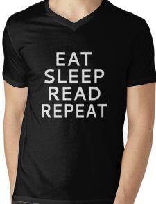 Eat Sleep Read Repeat Mens V-Neck T-Shirt