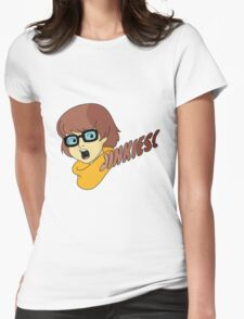 Velma Dinkley - Jinkes! [Brown Text] Womens Fitted T-Shirt