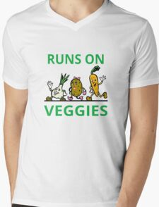 Runs On Veggies Mens V-Neck T-Shirt
