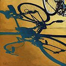 Market Day - bicycle art transportation oil painting by LindaAppleArt