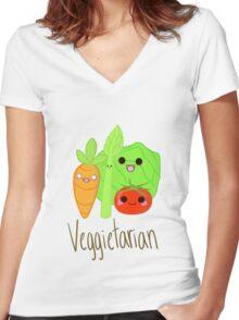 Veggitarian Tshirt Women's Fitted V-Neck T-Shirt