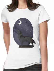 Howling Wolf (Black) Womens Fitted T-Shirt