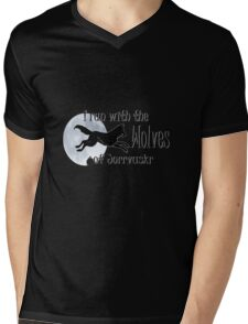 Running with the Wolves (with moon) Mens V-Neck T-Shirt