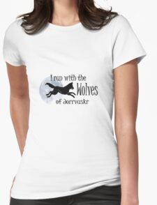 Running with the Wolves (with moon) Womens Fitted T-Shirt