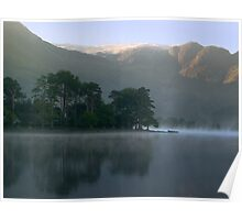 Boat in the Mist, Buttermere, Lake District Poster