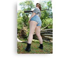 Better look a little higher . She has a gun! Canvas Print