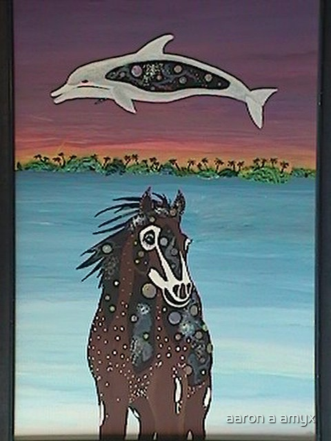"""Horse & Dolphin  (Size of work put in) RB said was """"Correct?  by aaron a amyx"""