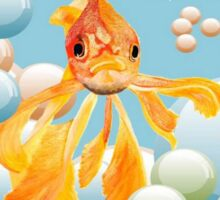 Vermillion Goldfish Blowing Bubbles Sticker
