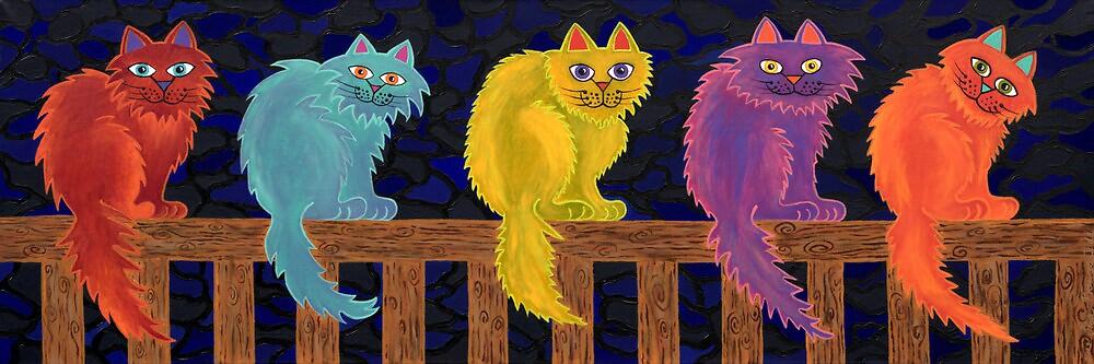 Fence Cats by Lisafrancesjudd