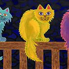 Fence Cats by Lisa Frances Judd~QuirkyHappyArt