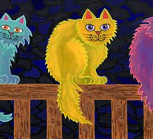 Fence Cats by Lisa Frances Judd ~ QuirkyHappyArt