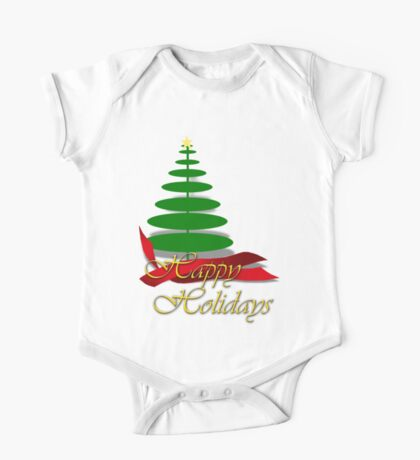 Christmas Tree with Red Ribbon One Piece - Short Sleeve