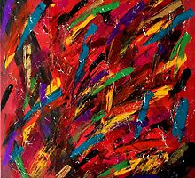 Abstract multi-colored brush strokes by Rebecca Medley