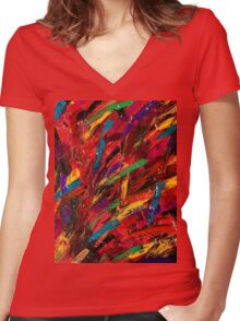 Abstract multi-colored brush strokes Women's Fitted V-Neck T-Shirt