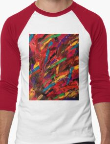 Abstract multi-colored brush strokes Men's Baseball ¾ T-Shirt