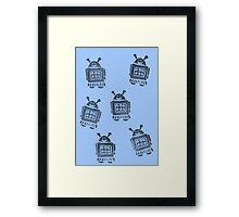 Blue Robots Framed Print