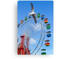 runing bird and wheel Canvas Print