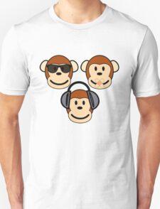 Illustration of Cartoon Three Monkeys - See, Hear, Speak No Evil T-Shirt