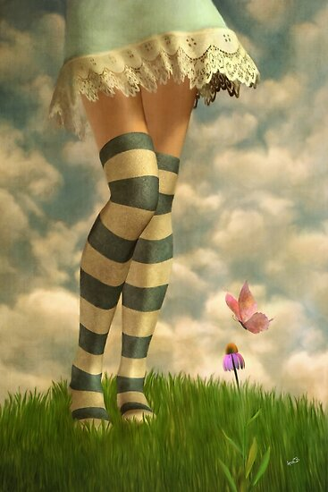 Cute Girl with Striped Socks by Ana CB Studio