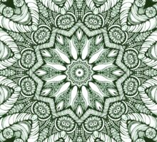 Green plant kaleidoscope mandala Sticker
