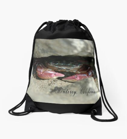A mud crab peeks out from his hiding place. Drawstring Bag