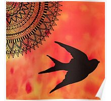 Mandala Bird Sunset Abstract Poster
