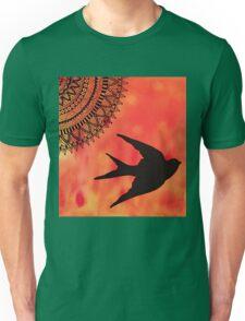 Mandala Bird Sunset Abstract Unisex T-Shirt